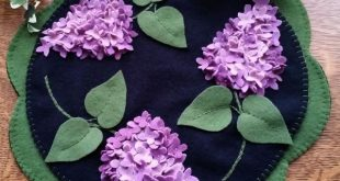 Lilac Beauty Wool Applique Candle Mat