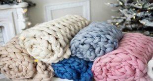 Merino Wool Blanket, Cozy Chunky Merino Wool Yarn Blanket, Arm Knitted Blanket, Hypoallergenic Blank