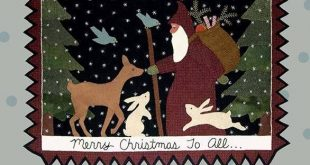 Merry Christmas to All - Primitive wool applique pattern - Wall Hanging - Bonnie Sullivan - Flannel or Wool - Penny rug
