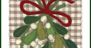 Mistletoe Wool Applique Instant Pattern Download by Diane Knott LLC - suitable for fusible cotton applique also - Kissin' Season Sewing