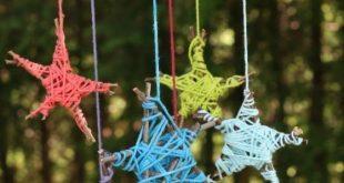 Mit Stöcken aus dem Garten und Garnfetzen können Kinder diese farbenfrohe ... ...