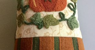 Needle Punch and Wool Applique Fall Pillow, Finished