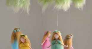 Nursery Mobile Waldorf inspired: Rainbow Colors Wool Fairies in a branch