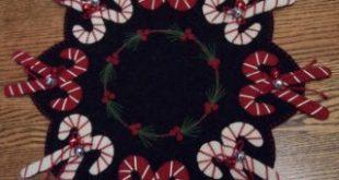 PatternMart.com ::. PatternMart: Jingle Bell Candy Canes Christmas Wool Penny Ru...