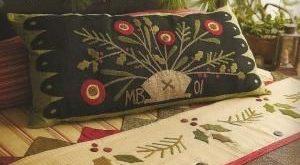 Primitive Folk Art Wool Applique Pattern: AUTUMN'S GLORY TABLE MaT