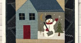 "Primitive Folk Art Wool Applique Pattern: ""Farmhouse Woolen Thru The Year (JANUARY) - A Buttermilk Basin Design"