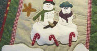"Primitive Folk Art Wool Applique Pattern - Lumpy Little Snowmen Series #2 - ""Friends"" Wool Embroidery Cotton Quilting"