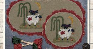 Primitive Folk Art Wool Applique Pattern: SIMPLY SCALLOPED MATS (June) - A Buttermilk Basin Design
