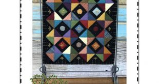 """Primitive Pieces - complete kit with wool felt and pattern - Front Porch Quilts - Finished size 12.5"""" square - Wall Hanging"""