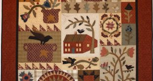 Primitive quilt with applique and patchwork   2019  Primitive quilt with appliqu...