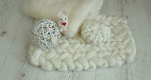 RTS newborn white set chunky wool blanket felt bunny tieback pillow cloud for photo session, Merino wool baby white Easter photo accessories