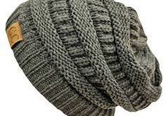 Stripey Knit Slouchy Beanies