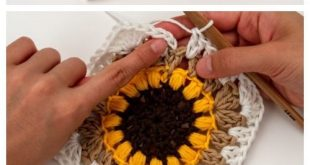 Sunflower Oma Square Blanket Free Häkelanleitung