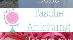 Werbung - kostenfreie Anleitung, runde Tasche im Boho Stil gehäkelt, pink mit T...