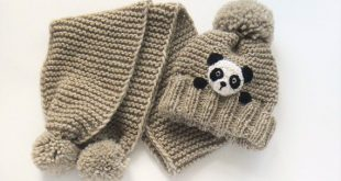 Winter hat and Scarf, Kids Outfit, Panda Hat, Knit Hat, Matching Outfit, Winter Accessories, Knit Scarf, Pom Pom Hat, Knit Beanie, Cute Hat