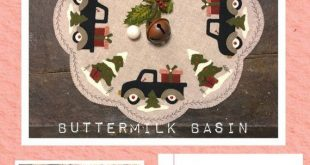 Wool Applique Pattern, Christmas Wool Applique, Wool Candle Mat, Penny Rug Pattern, Winter Applique Pattern, Vintage Truck, PATTERN ONLY