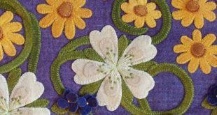 "Wool applique Pattern Kit Black Eyed Susans ""Singing in the Sunshine"" table runner folk art hand dyed rug hooking wool"
