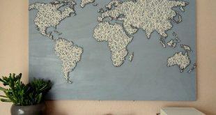 World Map | String Art | Office Decor | Travel Gift | World Map Poster | Living Room Decor | World Map Decal | Wood Wall Art | Map Art