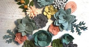 Loose Felt Succulents and Felt Flowers - Spring - Blush Pink - Create Headbands, DIY Wreaths, Garland, Vertical Garden, Baby Shower, Wedding