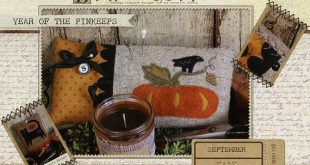 Primitive Folk Art Wool Applique Pinkeep Pattern - Buttermilk Basin - Year of Pinkeeps - September Pumpkin