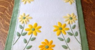 Bright Bursts of Sunshine Wool Applique Table Runner
