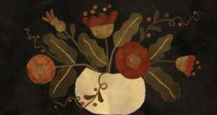 Primitive Wool Applique - Flowers in a Pumpkin Shell by Maggie Bonanomi - Choose Pattern Only or Pattern with Wool Kit