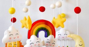 Baby gift mobil felt rainbow sun cloud moon