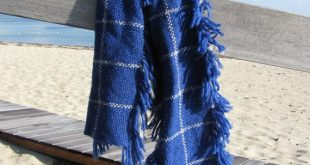 Blue Wool Scarf, Thick Chunky Artisan Hand Woven Fringed Scarf, Warm Winter Hygge Urban Rustic Mens Womens Accessories Blanket Scarf