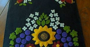 Bright wool applique folk art sunflower grapes table runner penny rug candle mat...