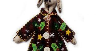 Christmas Holiday Wool Felt Appliqued Dog Puppy Ornament