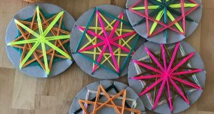 Colourful woven yarn star decorations. For lots of fun craft activity inspiratio...