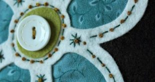 Fellowship of the Flowers week 34. Folk Art Fusion, Michelle May, reverse wool a...