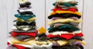 Felt Christmas Tree, upcycled wool sweater squares, Christmas Decorations, Home Decor, Mini Christmas trees, gold star topper, customizable