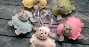 Felt Sheep ornament, Wool felt Easter Lamb ornament, pastel Easter decor, blue pink sheep, pastel decoration