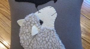 Good Morning Mr. Crow..... Wool applique sheep by Justplainfolk by autumn