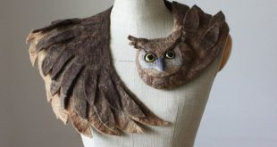 Good Owl stole - felted wool animal scarf