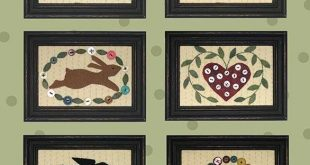 Itty Bitty Button Pictures - Primitive wool applique pattern - Wall Hanging - Bonnie Sullivan - Flannel or Wool - Penny rug