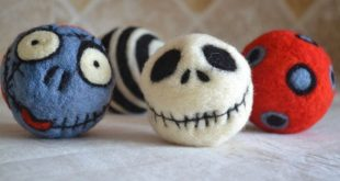 J Skellington and Sally INSPIRED - Dryer Balls, Toys, Collectible decor.  Felted...