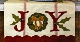 Joy Table Runner Pattern - Winter Season Pattern with Wool Applique - Christmas ...