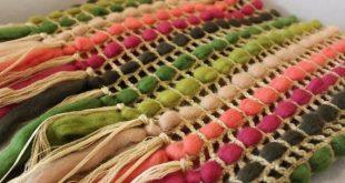 Knitted blanket Green Pink Home decor Rustic Housewarming gift Crochet blanket for Bedroom decor Fri