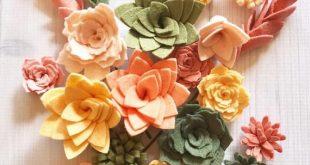 Loose Felt Succulents and Felt Flowers - Spring - Blush Pink - Create Headbands, DIY Wreaths, Garland, Vertical Garden, Baby Shower, Wedding