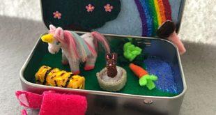 Miniature unicorn playset in a tin - itty bitty matey, unicorn softie, pocket unicorn, fairy, my little pony