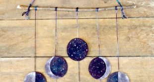 Moon Phases Wool Felt Wall Hanging: Hand Dyed & Stitched, All Natural Moon Art