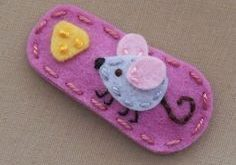 Mouse N' Cheese Rose Pink Wool Felt Snap Hair  by BerryCoolDesigns