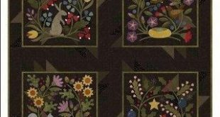 NEW! -Lap - Wall Hanging PATTERN -Bonnie Sullivan -Flannel - Wool Applique -Primitive: By a Hare-Squirrel it Away-Build a Nest-Cardinal Rule