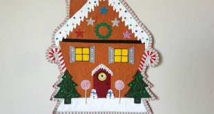 PDF PATTERN: Christmas Gingerbread House Penny Rug Wool Applique Wall Hanging sewing tutorial - felt DIY Xmas Decoration - Holiday accessory
