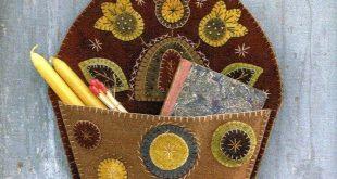 Poche laineux Art populaire Penny Rug par Rébecca L Smith - motif