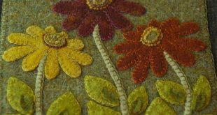 Prairie wildflowers folk art hand dyed rug hooking wool applique wall hanging qu...