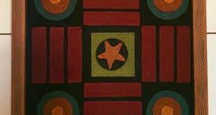 Primitive Folk Art Wool Applique Parcheesi Game Board Penny Rug Pattern