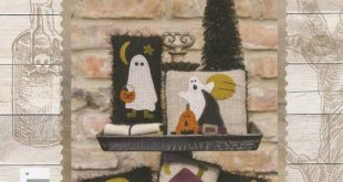 Primitive Folk Art Wool Applique Pattern: - LIL' HALLOWEEN PILLOWS - Design by Stacy West